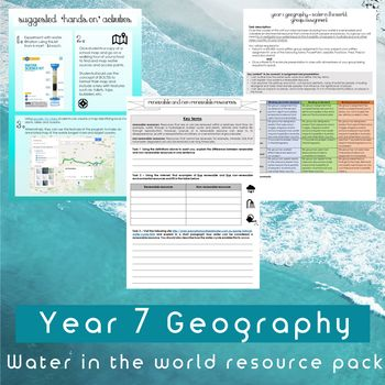 Resource pack to assist in teaching Year 7 Geography: Unit 1 - Water in the World.This pack includes:*Vocabulary activities*Worksheets*Group assessment and rubric* Suggested hands on activities*Curriculum planning check list Geography - Australian Curriculum content descriptors:Year 7:(ACHGK037)(ACHGK038) (ACHGK039) (ACHGK040) (ACHGK041)(ACHGK042)  ***Please make sure you download my FREE Australian Curriculum - Water in the world vocabulary worksheet (answers included) resource to accompany…