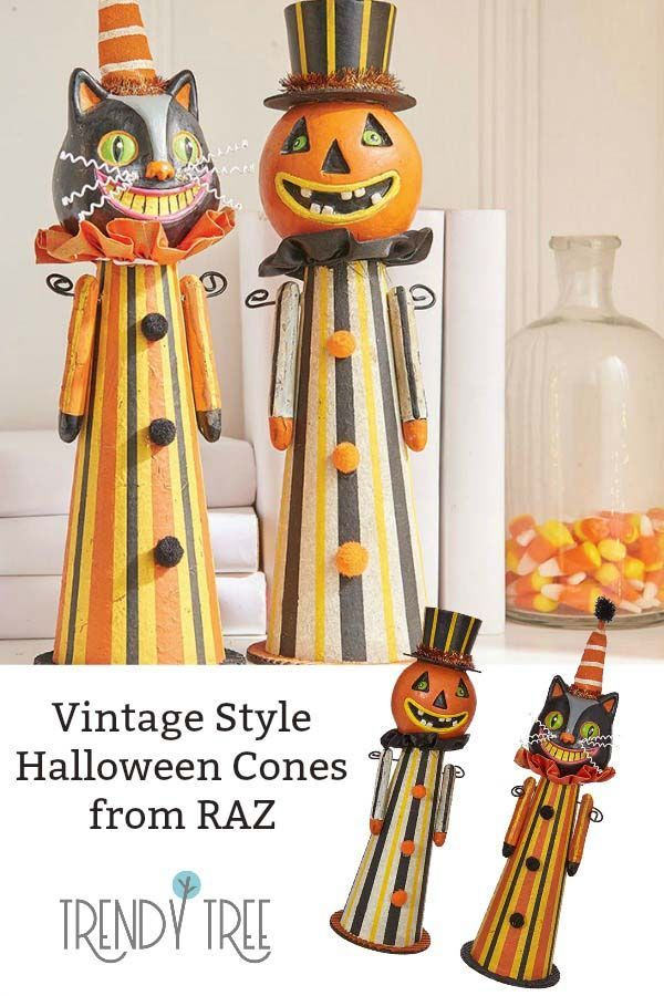 Vintage Style Halloween Cone Decorations From Raz Old Fashioned Look With A Cat H Halloween Decorations For Kids Halloween Party Decor Diy Fun Halloween Decor