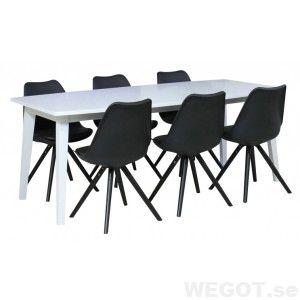 Bristol matbord vit 190-290cm med 6 Retro Stol svart, Matbord och stolar/Matgrupper
