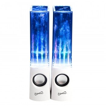 This Supersonic Dancing Water Speakers is made by Supersonic. It is two rich stereo sound speakers with four multi-colored LED lights that can be connect to your iPad, iPhone, iPod, smartphone, androi
