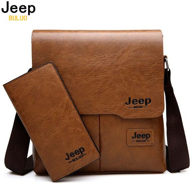 JEEP BULUO Man Messenger Bag 2 Set Men Pu Leather Shoulder Bags Business  Crossbody Casual Bag Famous Brand ZH1505 8068 19586a69df