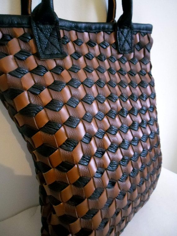 Large Brown Leather Tote Bag  Large Woven Leather by leathertotes
