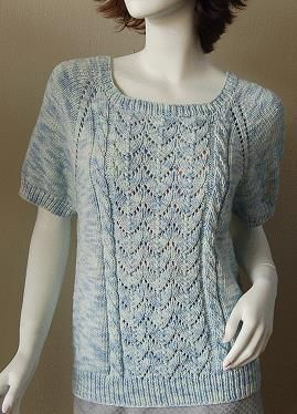 Bamboozle Short Sleeve Lace - Cable Raglan -  free knit pattern in bamboo yarn - Crystal Palace Yarns  from the top down