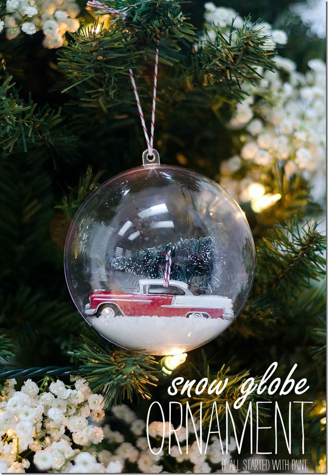 DIY snow globe ornament car with bottle brush tree
