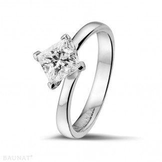 - 1.25 caraat diamanten solitaire ring in wit goud