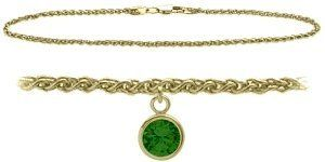 10K Yellow Gold 9 Inch Wheat Anklet with Created Emerald Round Charm Elite Jewels. $179.50. Save 44% Off!