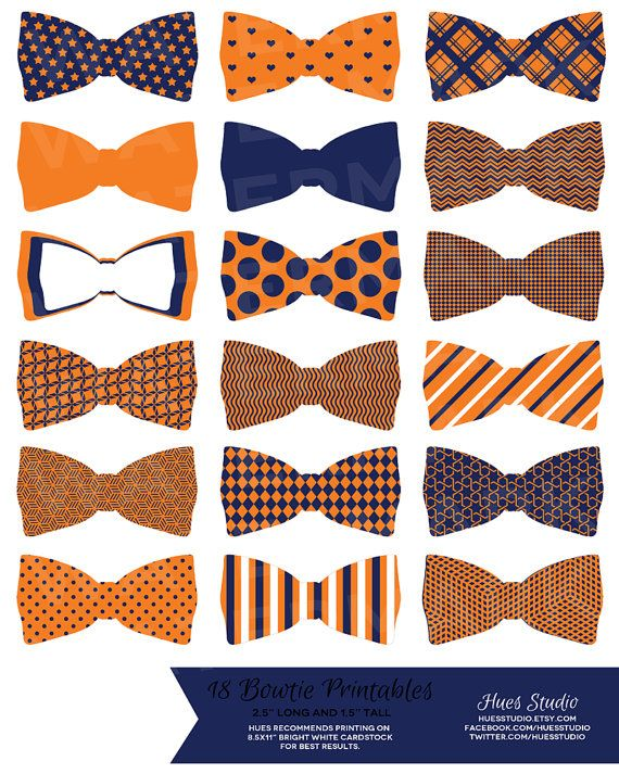 18 Orange Blue and White Printable Bowties! Glue them to toothpicks and stick them in treats on your dessert table or string them up as garland! $3.50 (Available in any color combination)