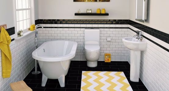 20 best dark bathrooms with pops of bold colour images on for Bathroom 3 piece suite