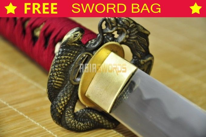 Real Handmade Full Tang Sharp Hand Forged T10 1095 Spring Steel Japanese Dragon Samurai Katana Sword Ninja Battle Ready #304