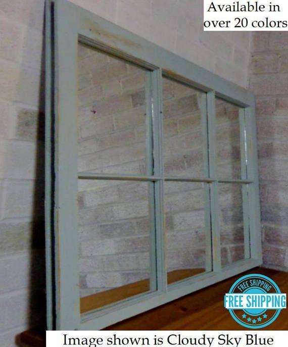 Mirror Wall Decor Reclaimed Wood Window, 6 Pane Window Frame Mirror