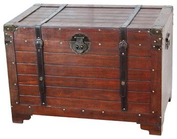 Maybe near the front door? Old Fashioned Wood Storage Trunk Wooden Treasure Hope Chest - Rustic - Baskets - Decorative Gifts