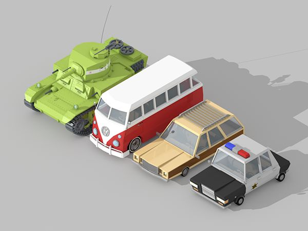 low poly car on Behance