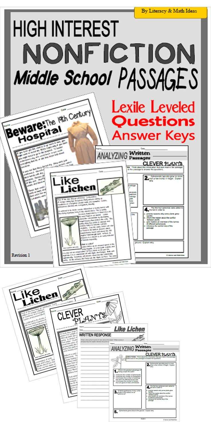 Literacy & Math Ideas: High-Interest Nonfiction Middle School Passages