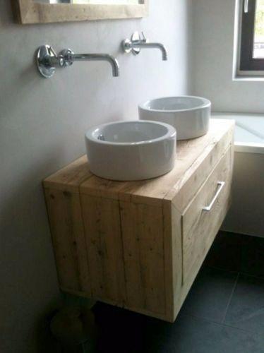 Zwevend badkamermeubel lavabo kastje steigerhout met klep : http://link.marktplaats.nl/m929197938