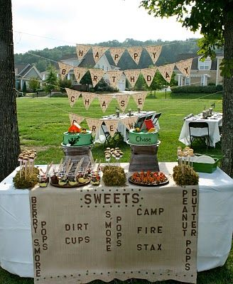 Sweets: Sweet Bar, Desserts Ideas, Sweet Tables, Birthday Parties, Theme Parties, Camps Birthday, Parties Ideas, Camps Parties, Camps Theme