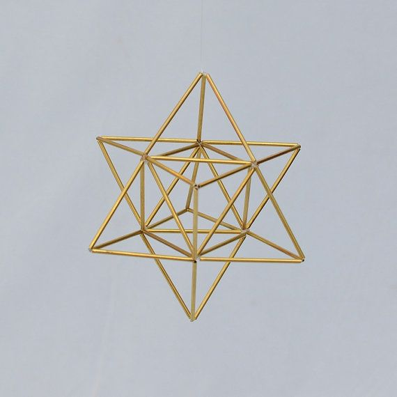 Small EGG OF LIFE, Merkaba, Tetrahedron Star of David 3 D Himmeli Hanging Brass Home Decor