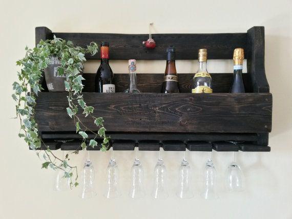 Cantinetta mensola da parete porta bottiglie porta bicchieri ...