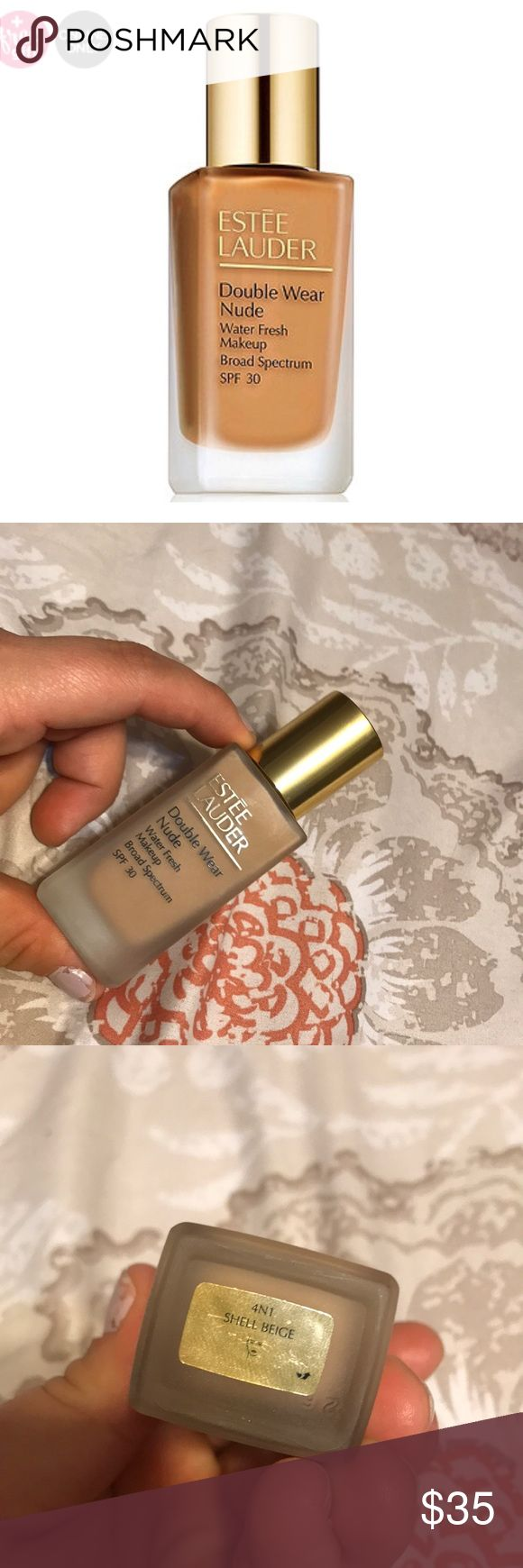 Estes Lauder Double Wear Nude foundation SHADE: 4N1 Shell Beige Gorgeous light weight and comfortable foundation. Looks fresh, natural and healthy. I find that these shades run a little darker than the original Estée Lauder Double Wear. This is a lighter coverage foundation that looks skin like and so natural!! 85% full. Just too dark for me. I used it as a mixer for other foundations. Estee Lauder Makeup Foundation