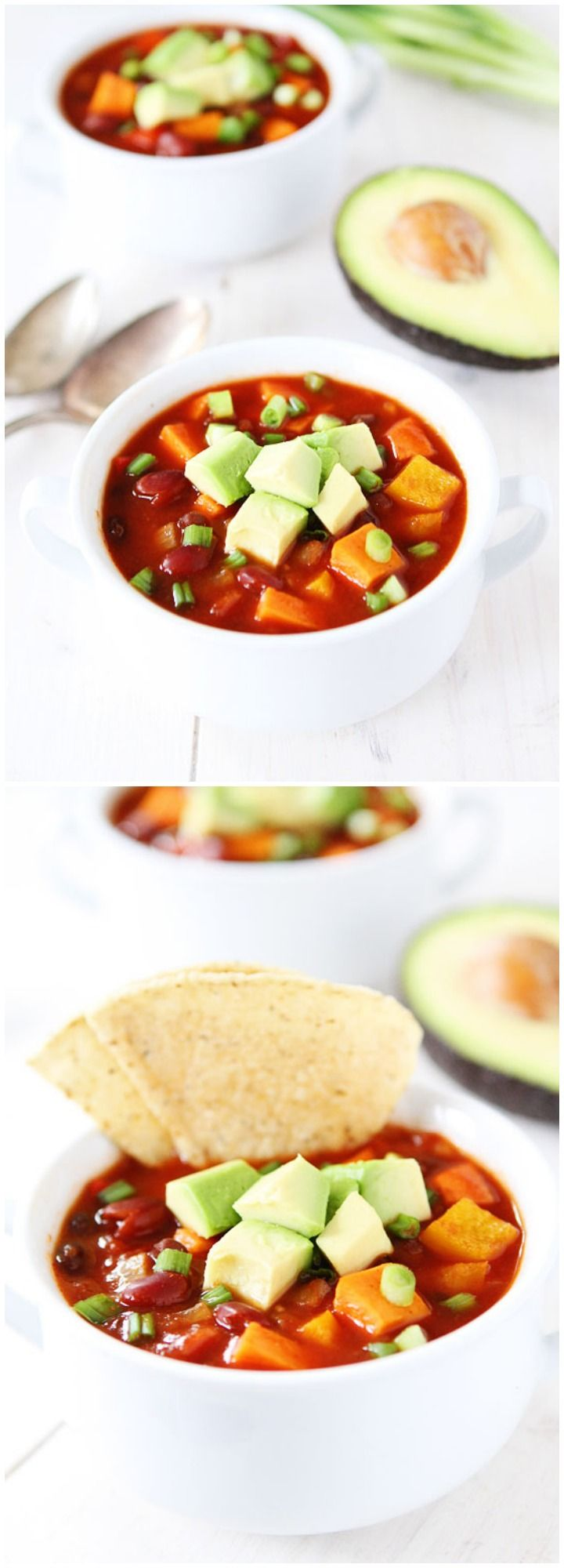 Slow Cooker Vegan Sweet Potato Chili Recipe on twopeasandtheirpod.com This easy and healthy chili is great for busy weeknights or entertaining!