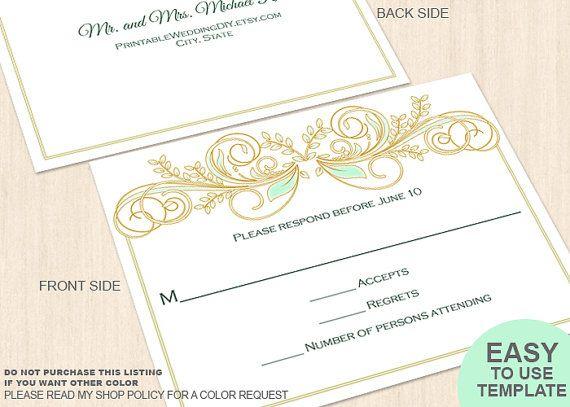 Mint green pastel flourishes printable wedding RSVP postcard   template| response card| reply card| editable word.doc| diy wedding template|