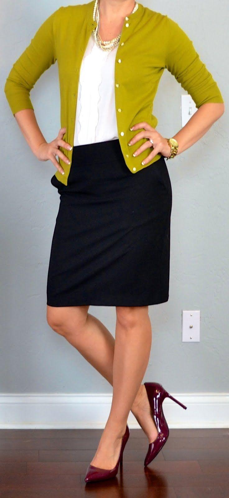 Outfit Posts: green/mustard cardigan, black pencil skirt, burgundy pumps    outfitposts.blogspot.com