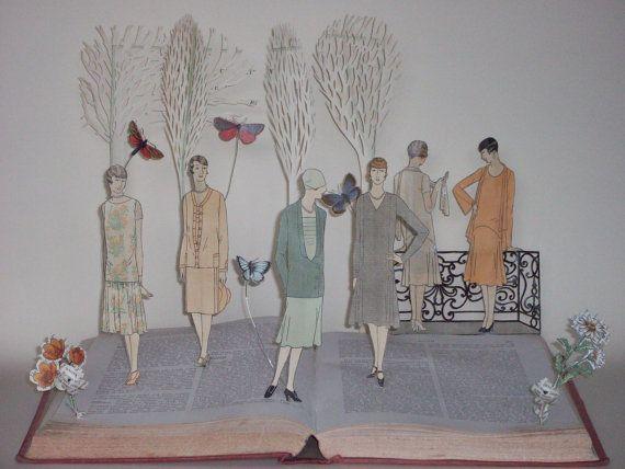 Book sculpture 'Gossiping in the garden' - Vintage Vogue book art altered book OOAK etsyEUR bestofbritish be unique
