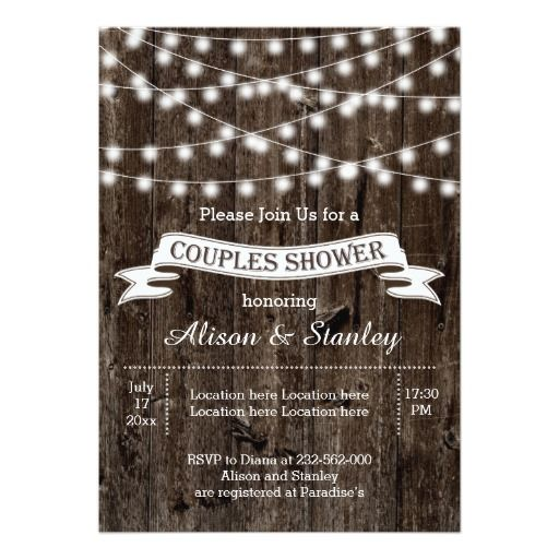 String of lights, old wood wedding couples shower custom invitations