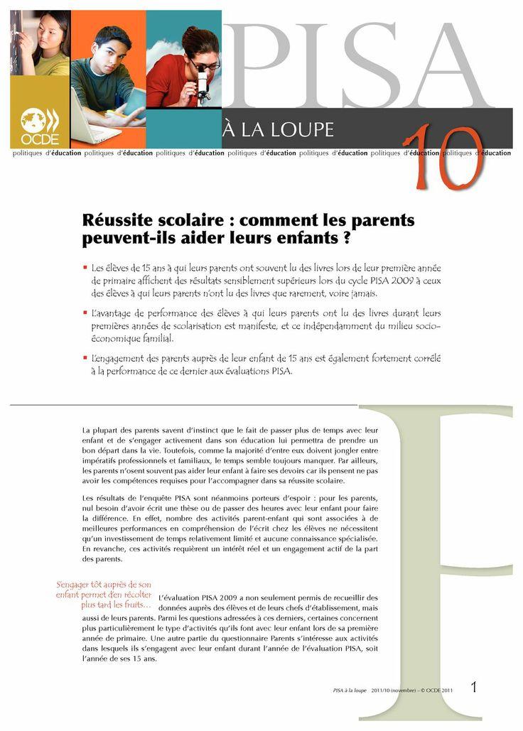 Le sens plutôt que la technique : l'importance de la vie familiale. Périodique PISA à la loupe, 1er novembre 2011 : Réussite scolaire : comment les parents peuvent-ils aider leurs senfants