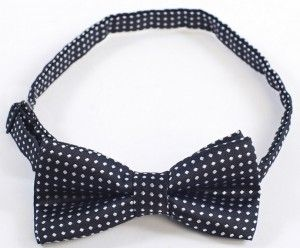 Boys Bowtie Black and White Dots