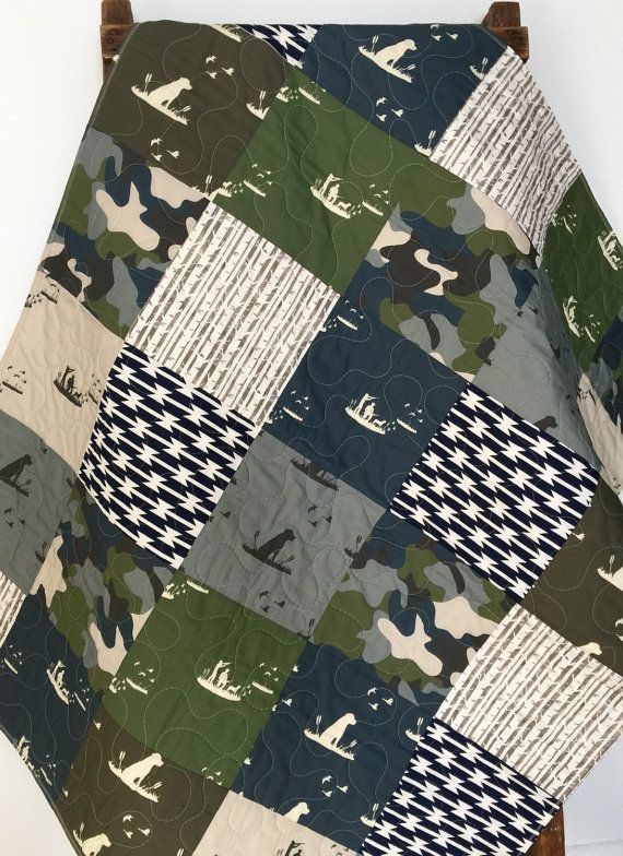 Baby Quilt Boy Dogs Ducks Hunting Guns Camo Woodland by CoolSpool