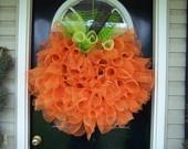 Deco Mesh Pumpkin Wreath: Fall Decor, Pumpkin Wreaths, Halloween Pumpkin, Front Doors, Fall Wreaths, Doors Deco, Halloween Wreaths, Mesh Wreaths, Deco Mesh