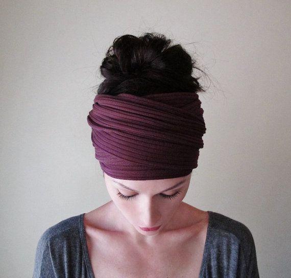 BOURGONDIË oor Warmer - Merlot ribbels breien hoofd sjaal - Extra brede hoofdband - Womens Boheemse haar Wrap - EcoShag haaraccessoires