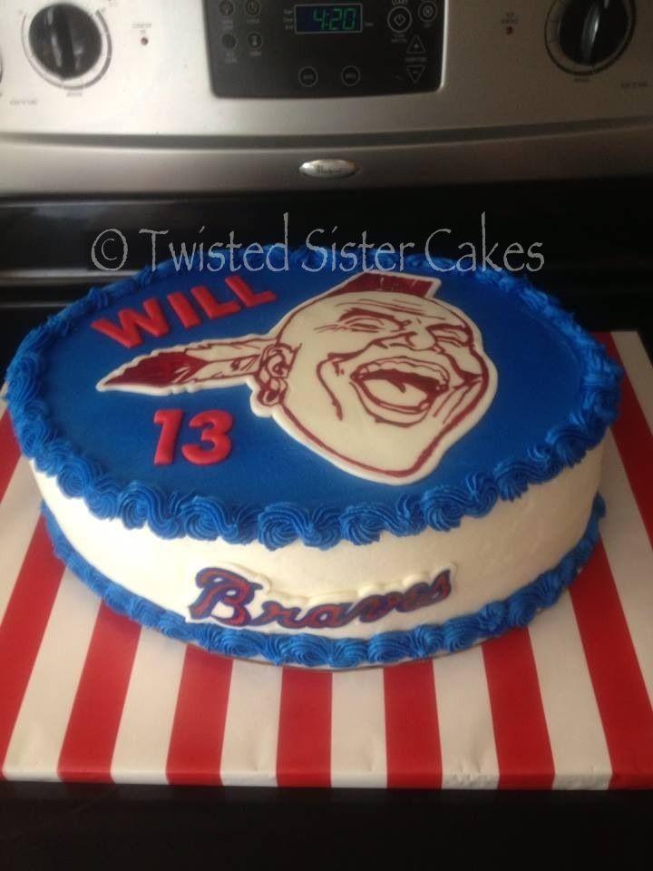 Atlanta Braves cake.....www.twistedsistercakes.com