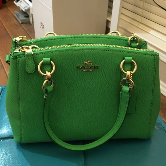 coach coin purse outlet nd3c  New Bright Green Leather Coach Purse Mini Christie Carryall in Crossgrain  Leather Brand New with