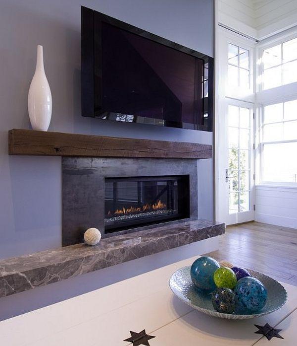 Телевизор и камин в современном стиле