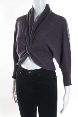 Brunello-Cucinelli-Purple-100-Cashmere-Blend-Long-Sleeve-V-Neck-Sweater-Size-La