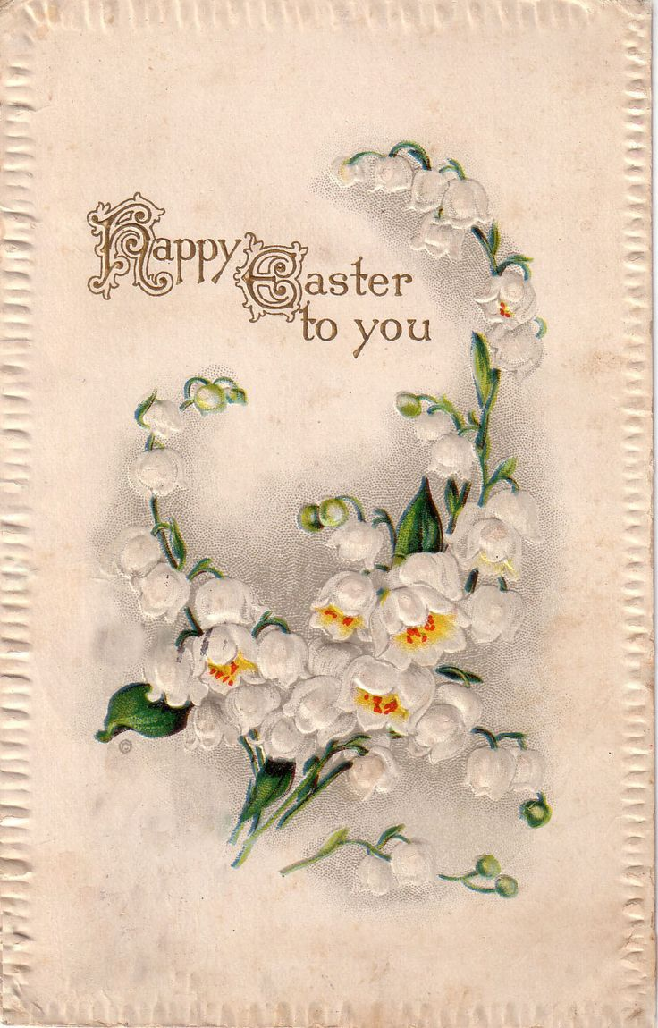 """Reproduced vintage postcards dating back to 1910, displaying quaint phrases or illustrations appropriate for a handful of special events: Card reads """"Happy Easter to You"""" - Custom textured paper - Emb"""