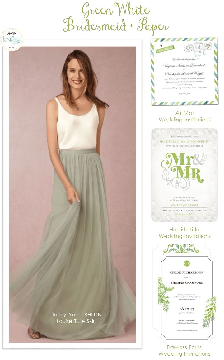 Green White Wedding   Unique two piece bridesmaid dress with tulle skirt. Bridesmaid And Paper - KnotsVilla