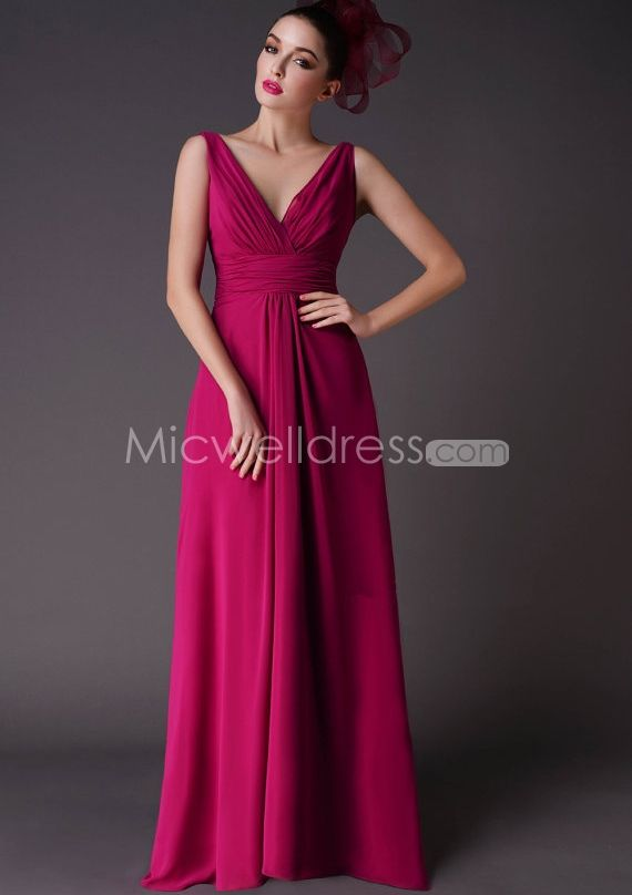 US$145.99 Raspberry Deep V-neck Ruched Chiffon Floor Length Bridesmaid Dresses Free Shipping Worldwide - Micwelldress.com