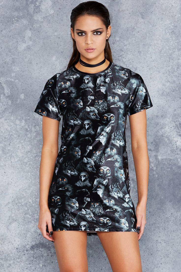 Familiars Velvet Tee Dress - 48HR ($80AUD) by BlackMilk Clothing