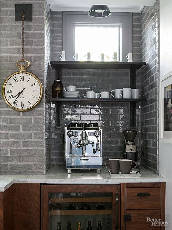 An inspiring kitchen remodeling idea! Imagine having your own home bar complete with an espresso machine and undercounter wine and beer refrigerator. This would be an awesome beverage station for the home.