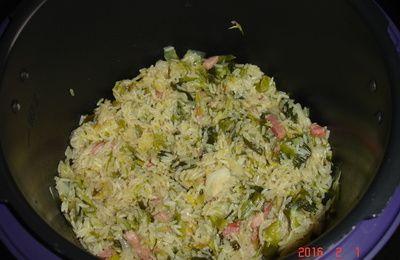 accompagnement riz poireaux lardons