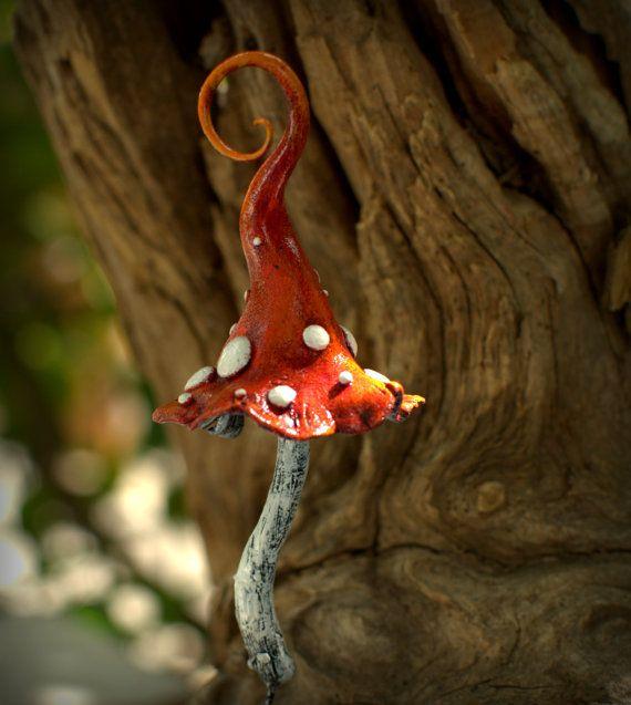 Red white amanita mushroom polymer clay toadstool Home by Petradi