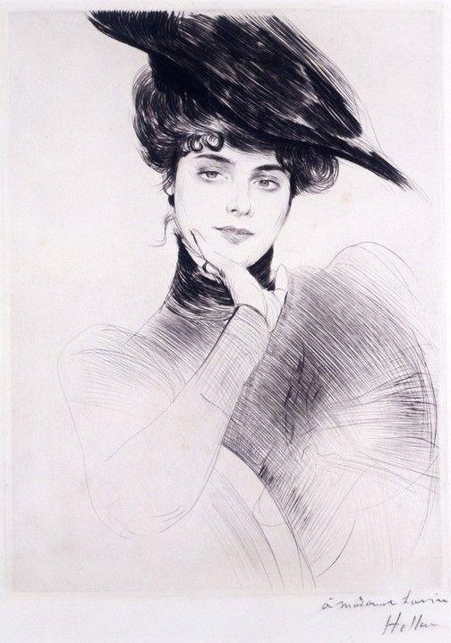 Portrait of a woman wearing a hat, Paul-César Helleu. French Painter and Engraver, (1859-1927)