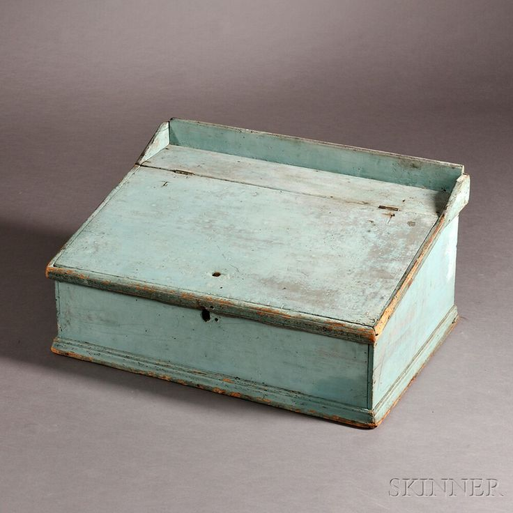 Turquoise-painted Pine Desk Box