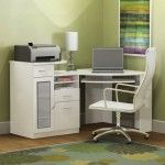 Inspiration  ~ Cool Bedroom Office Furniture Ideas: Classy Bedroom Office Furniture With White Painted Hickory Wood Study Desk Also White Painted Iron Chair And Green Rubber Rug
