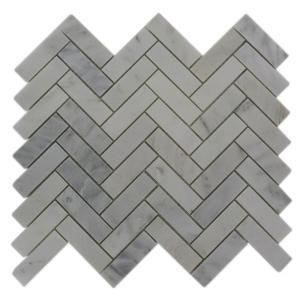 Marble Herringbone Floor and Wall Tile by Oriental Sculpture. #homedepot