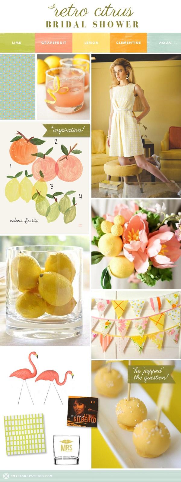 retro citrus bridal shower, lime, grapefruit, lemon, orange, aqua, cocktail party, Trina Turk, 60's, mod, vintage, fabric garland, coral flowers, flamingos, Bossa Nova, cake pops, green, yellow