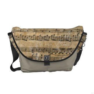 Vintage Music Sheet Messenger Bag