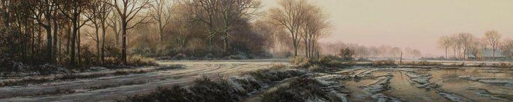 """De Achterhoek in """"Boerderij in de sneeuw"""". Van Paul Wieggers, een landschap in olieverf, 23,5 x 112 cm"""